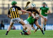 27 July 2019; Cian Lynch of Limerick in action against Joey Holden, left, and Pádraig Walsh of Kilkenny during the GAA Hurling All-Ireland Senior Championship Semi-Final match between Kilkenny and Limerick at Croke Park in Dublin. Photo by Piaras Ó Mídheach/Sportsfile