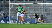 27 July 2019; Kilkenny goalkeeper Eoin Murphy is beaten for a goal from a penalty by Aaron Gillane of Limerick during the GAA Hurling All-Ireland Senior Championship Semi-Final match between Kilkenny and Limerick at Croke Park in Dublin. Photo by Piaras Ó Mídheach/Sportsfile