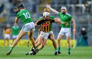 27 July 2019; Conor Browne of Kilkenny in action against Limerick players, from left, Gearóid Hegarty, Tom Morrissey, and Cian Lynch during the GAA Hurling All-Ireland Senior Championship Semi-Final match between Kilkenny and Limerick at Croke Park in Dublin. Photo by Piaras Ó Mídheach/Sportsfile