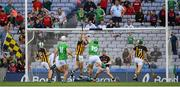 27 July 2019; Shane Dowling of Limerick shoots to score his side's second goal of the game during the GAA Hurling All-Ireland Senior Championship Semi-Final match between Kilkenny and Limerick at Croke Park in Dublin. Photo by Ramsey Cardy/Sportsfile