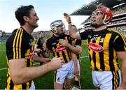 27 July 2019; Colin Fennelly, left, TJ Reid, centre, and Cillian Buckley of Kilkenny celebrate following the GAA Hurling All-Ireland Senior Championship Semi-Final match between Kilkenny and Limerick at Croke Park in Dublin. Photo by Ramsey Cardy/Sportsfile