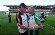 27 July 2019; Kilkenny manager Brian Cody and Limerick manager John Kiely shake hands following the GAA Hurling All-Ireland Senior Championship Semi-Final match between Kilkenny and Limerick at Croke Park in Dublin. Photo by David Fitzgerald/Sportsfile
