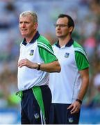 27 July 2019; Limerick manager John Kiely, left, and selector Paul Kinnerk during the GAA Hurling All-Ireland Senior Championship Semi-Final match between Kilkenny and Limerick at Croke Park in Dublin. Photo by David Fitzgerald/Sportsfile