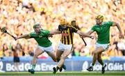 27 July 2019; Colin Fennelly of Kilkenny in action against Seán Finn, left, and Dan Morrissey of Limerick during the GAA Hurling All-Ireland Senior Championship Semi-Final match between Kilkenny and Limerick at Croke Park in Dublin. Photo by Ramsey Cardy/Sportsfile