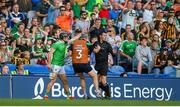 27 July 2019; Darragh O'Donovan of Limerick appeals after taking a sideline cut in the final seconds during the GAA Hurling All-Ireland Senior Championship Semi-Final match between Kilkenny and Limerick at Croke Park in Dublin. Photo by David Fitzgerald/Sportsfile