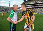 27 July 2019; Huw Lawlor of Kilkenny is congratulated by Limerick manager John Kiely after the GAA Hurling All-Ireland Senior Championship Semi-Final match between Kilkenny and Limerick at Croke Park in Dublin. Photo by Ray McManus/Sportsfile