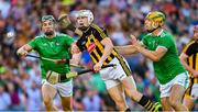 27 July 2019; TJ Reid of Kilkenny is tackled by Seán Finn, left, and Dan Morrissey of Limerick during the GAA Hurling All-Ireland Senior Championship Semi-Final match between Kilkenny and Limerick at Croke Park in Dublin. Photo by Ray McManus/Sportsfile