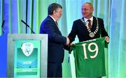 27 July 2019; FAI President Donal Conway makes a presentation to Wayne Harding, Chairman, Meath County Council, during the FAI AGM at Knightsbrook Hotel in Trim, Meath. Photo by Brendan Moran/Sportsfile