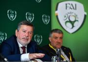 27 July 2019; FAI President Donal Conway speaking at a press conference after the FAI AGM at Knightsbrook Hotel in Trim, Meath. Photo by Brendan Moran/Sportsfile