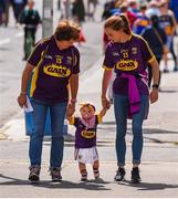 28 July 2019; Wexford supporters, Carmel Dunbar, left, and Clodagh Dunbar, with Molly Dunbar, aged 1, from Riverchapel, Co Wexford, ahead of the GAA Hurling All-Ireland Senior Championship Semi Final match between Wexford and Tipperary at Croke Park in Dublin. Photo by Daire Brennan/Sportsfile