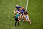 28 July 2019; Referee Sean Cleere throws in the ball to start the game between, Michael Breen, left, and Dan McCormack of Tipperary and Lee Chin, left, and Diarmuid O'Keeffe of Wexford during the GAA Hurling All-Ireland Senior Championship Semi Final match between Wexford and Tipperary at Croke Park in Dublin. Photo by Daire Brennan/Sportsfile