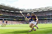28 July 2019; Diarmuid O'Keeffe of Wexford in action against Brendan Maher of Tipperary during the GAA Hurling All-Ireland Senior Championship Semi Final match between Wexford and Tipperary at Croke Park in Dublin. Photo by Ramsey Cardy/Sportsfile
