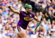 28 July 2019; Conor McDonald of Wexford celebrates after scoring his side's first goal during the GAA Hurling All-Ireland Senior Championship Semi Final match between Wexford and Tipperary at Croke Park in Dublin. Photo by Ramsey Cardy/Sportsfile