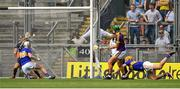 28 July 2019; Conor McDonald of Wexford scores his side's first goal during the GAA Hurling All-Ireland Senior Championship Semi Final match between Wexford and Tipperary at Croke Park in Dublin. Photo by Brendan Moran/Sportsfile