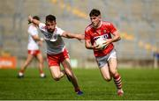 28 July 2019; Blake Murphy of Cork in action against Cahir Goodwin of Tyrone during the EirGrid GAA Football All-Ireland U20 Championship Semi-Final match between Cork and Tyrone at Bord Na Mona O'Connor Park in Tullamore, Offaly. Photo by David Fitzgerald/Sportsfile