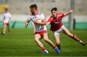 28 July 2019; Liam Gray of Tyrone in action against Blake Murphy of Cork during the EirGrid GAA Football All-Ireland U20 Championship Semi-Final match between Cork and Tyrone at Bord Na Mona O'Connor Park in Tullamore, Offaly. Photo by David Fitzgerald/Sportsfile