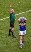 28 July 2019; Referee Sean Cleere shows John McGrath of Tipperary a red card during the GAA Hurling All-Ireland Senior Championship Semi Final match between Wexford and Tipperary at Croke Park in Dublin. Photo by Daire Brennan/Sportsfile