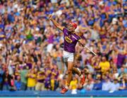 28 July 2019; Lee Chin of Wexford celebrates after scoring his side's second goal of the game during the GAA Hurling All-Ireland Senior Championship Semi Final match between Wexford and Tipperary at Croke Park in Dublin. Photo by Seb Daly/Sportsfile