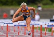28 July 2019; Sarah Lavin of U.C.D. A.C., Co. Dublin, on her way to winning the Women's 100m Hurdles during day two of the Irish Life Health National Senior Track & Field Championships at Morton Stadium in Santry, Dublin. Photo by Sam Barnes/Sportsfile