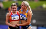 28 July 2019; Sarah Lavin of U.C.D. A.C., Co. Dublin, right, celebrates with Sarah Quinn of St. Colmans South Mayo A.C., Co. Mayo, following the Women's 100m Hurdles during day two of the Irish Life Health National Senior Track & Field Championships at Morton Stadium in Santry, Dublin. Photo by Sam Barnes/Sportsfile