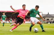 28 July 2019; Daire O'Connor of Cork City in action against Dylan Watts of Shamrock Rovers during the SSE Airtricity League Premier Division match between Cork City and Shamrock Rovers at Turners Cross in Cork. Photo by Ben McShane/Sportsfile