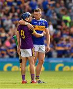 28 July 2019; Kevin Foley of Wexford is consouled by Padraic Maher of Tipperary after the GAA Hurling All-Ireland Senior Championship Semi Final match between Wexford and Tipperary at Croke Park in Dublin. Photo by Ray McManus/Sportsfile