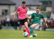 28 July 2019; Gary O'Neill of Shamrock Rovers in action against Kevin O'Connor of Cork City during the SSE Airtricity League Premier Division match between Cork City and Shamrock Rovers at Turners Cross in Cork. Photo by Ben McShane/Sportsfile
