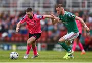 28 July 2019; Jack Byrne of Shamrock Rovers in action against Kevin O'Connor of Cork City during the SSE Airtricity League Premier Division match between Cork City and Shamrock Rovers at Turners Cross in Cork. Photo by Ben McShane/Sportsfile