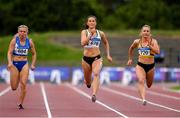 28 July 2019; Ciara Neville of Emerald A.C., Co. Limerick, centre, on her way to winning the  Women's 100m, ahead of Molly Scott of St. Laurence O'Toole A.C., Co. Carlow, left, and Joan Healy of Leevale A.C., Co. Cork, during day two of the Irish Life Health National Senior Track & Field Championships at Morton Stadium in Santry, Dublin. Photo by Sam Barnes/Sportsfile