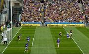 28 July 2019; Conor McDonald of Wexford shoots to score his side's first goal during the GAA Hurling All-Ireland Senior Championship Semi Final match between Wexford and Tipperary at Croke Park in Dublin. Photo by Ramsey Cardy/Sportsfile