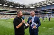 27 July 2019; The 2019 Open Champion Shane Lowry with the Claret Jug is interviewed by Dáithí Ó Sé ahead of the GAA Hurling All-Ireland Senior Championship Semi-Final match between Kilkenny and Limerick at Croke Park in Dublin. Photo by Ramsey Cardy/Sportsfile