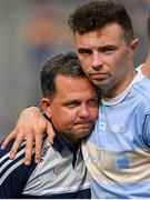 28 July 2019; Wexford manager Davy Fitzgerald, left, is consoled by Rory O'Connor after the GAA Hurling All-Ireland Senior Championship Semi Final match between Wexford and Tipperary at Croke Park in Dublin. Photo by Brendan Moran/Sportsfile