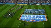 28 July 2019; RNLI volunteer lifeboat crew from stations across Ireland unfurl giant water safety flags on the pitch of Croke Park before the All-Ireland Senior Hurling semi-final match between Wexford and Tipperary at Croke Park in Dublin. The activity was part of the RNLI's partnership with the GAA to prevent drownings and share water safety advice. Photo by Daire Brennan/Sportsfile