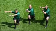 28 July 2019; Referee Sean Cleere warms-up with linesmen, Colm Lyons, left, and Johnny Murphy, ahead of the GAA Hurling All-Ireland Senior Championship Semi Final match between Wexford and Tipperary at Croke Park in Dublin. Photo by Daire Brennan/Sportsfile