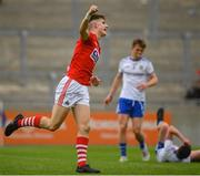 28 July 2019; Conor Corbett of Cork celebrates his side's second goal scored by team-mate Patrick Campbell during the Electric Ireland GAA Football All-Ireland Minor Championship Quarter-Final match between Monghan and Cork at Bord Na Mona O'Connor Park in Tullamore, Offaly. Photo by David Fitzgerald/Sportsfile