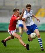 28 July 2019; Karl Gallagher of Monaghan in action against Darragh Cashman of Cork during the Electric Ireland GAA Football All-Ireland Minor Championship Quarter-Final match between Monghan and Cork at Bord Na Mona O'Connor Park in Tullamore, Offaly. Photo by David Fitzgerald/Sportsfile