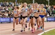 28 July 2019; Siofra Cleirigh Buttner of Dundrum South Dublin A.C., Co. Dublin, and Ellie Hartnett of U.C.D. A.C., Co. Dublin, lead the field during the Women's 1500m during day two of the Irish Life Health National Senior Track & Field Championships at Morton Stadium in Santry, Dublin. Photo by Sam Barnes/Sportsfile