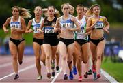 28 July 2019; Siofra Cleirigh Buttner of Dundrum South Dublin A.C., Co. Dublin, leads in the Women's 1500m  during day two of the Irish Life Health National Senior Track & Field Championships at Morton Stadium in Santry, Dublin. Photo by Harry Murphy/Sportsfile