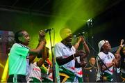 28 July 2019; Players from South Africa Gaels performing during the Renault GAA World Games Opening Ceremony at Theatre Royal & Waterside Cade Park in Waterford. Photo by Piaras Ó Mídheach/Sportsfile