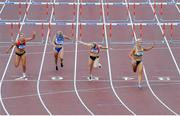 28 July 2019; Sarah Lavin of U.C.D. A.C., Co. Dublin, right, crosses the line to win the Women's 100m Hurdles during day two of the Irish Life Health National Senior Track & Field Championships at Morton Stadium in Santry, Dublin. Photo by Sam Barnes/Sportsfile