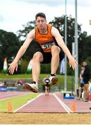 28 July 2019; Darragh Miniter of Nenagh Olympic A.C., Co. Tipperary, competing in the Men's Long Jump during day two of the Irish Life Health National Senior Track & Field Championships at Morton Stadium in Santry, Dublin. Photo by Harry Murphy/Sportsfile