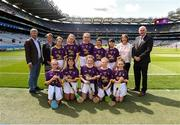 28 July 2019; Uachtarán Chumann Lúthchleas Gael John Horan, with the Wexford team, back row, left to right, Molly Conroy, St Aidan's NS, Kilmanagh , Kilkenny, Róisin Conlon, Scoil Mhuire GNS, Lucan, Dublin, Hannah Earls, Scoil Bhríde, Ballinasloe, Galway, Annie Dunne, Derrylamogue NS, Rosenallis, Laois, Tilly Crossan, Melview NS, Corragarrow, Longford, front row, left to right, Hannah Finn, St Brigid's NS, Kildare Town, Kildare, Áine McDonald, St. Brigid's Crossbridge, Arklow, Wicklow, Aoife Kirby, Scoil Tighearnach Naofa, Cullohill, Laois, Zara Quirke, St Aidans SNS, Brookfeld Road, Dublin, Saoirse D'Arcy, Scoil Mhuire na nGael , Dundalk, Louth, ahead of the INTO Cumann na mBunscol GAA Respect Exhibition Go Games at the GAA Hurling All-Ireland Senior Championship Semi Final match between Wexford and Tipperary at Croke Park in Dublin. Photo by Daire Brennan/Sportsfile