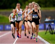 28 July 2019; Sarah Healy of Blackrock A.C., Co. Dublin, competing in the Men's/ Women's 1500m during day two of the Irish Life Health National Senior Track & Field Championships at Morton Stadium in Santry, Dublin. Photo by Harry Murphy/Sportsfile