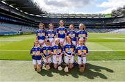 28 July 2019; The Tipperary team, back row, left to right, Mary McArthur, St Olcan's PS, Armoy, Antrim, Aisling Hannan, St Senan's Clonlara, Clonlara, Clare, Róisín Quinn, Scoil Treasa Naofa, Kilfynn, Kerry, Emma Kennedy Ballygarvan NS, Ballygarvan, Cork, Laura Flanagan, Tooreen NS, Ballyhaunis, Mayo, front row, back to right, Zara Kelly, St. Patrick's PS, Hilltown, Down, Catríona McKinney, St Mura's NS, Burnfoot, Donegal, Eimear Mallon, St John's PS, Middletown, Armagh, Aoife Murphy, Clarecastle NS, Clarecastle, Clare, Deirbhile O'Carroll, Knocklong NS, Knocklong, Limerick, ahead of the INTO Cumann na mBunscol GAA Respect Exhibition Go Games at the GAA Hurling All-Ireland Senior Championship Semi Final match between Wexford and Tipperary at Croke Park in Dublin. Photo by Daire Brennan/Sportsfile