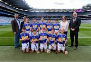 28 July 2019; Uachtarán Chumann Lúthchleas Gael John Horan, with the Tipperary team, back row, left to right, Thomas O'Brien, Rathcormas NS, Rathcormac, Sligo, Damian Leddy, Ballyhaise NS, Ballyhaise, Cavan, Ewan Tynan, St Mary's NS, Ballygunner, Waterford, Peter Boyle, St. Clares NS, Manorhamilton, Leitrim, Ciarán Mulry, St.Comans Wood PS, Roscommon Town, Roscommon, front row, left to right, Thomas Sheridan, Corballa NS, Corballa, Vi Ballina, Sligo, Tomás O'Shea, Lisvernane NS, Aherlow, Tipperary, Harry Mac Canainn, Scoil na nÓg, Glanmire, Cork, Alfie Hughes, Annyalla NS, Castleblayney, Monaghan, Cody Galagher, Roan St. Patrick's PS Eglish, Dungannon, the INTO Cumann na mBunscol GAA Respect Exhibition Go Games at the GAA Hurling All-Ireland Senior Championship Semi Final match between Wexford and Tipperary at Croke Park in Dublin. Photo by Daire Brennan/Sportsfile