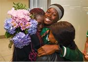 29 July 2019; Rhasidat Adeleke of Ireland is greeted by family on Team Ireland's return to Dublin Airport in Dublin from the 2019 Summer European Youth Olympic Festival in Baku. Photo by Harry Murphy/Sportsfile