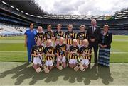 27 July 2019; Uachtarán Chumann Lúthchleas Gael John Horan, with the Kilkenny team, back row, left to right, Alannah Firman, Murrintown NS, Murrintown, Wexford, Sinéad Oltean, Scoil Áine Naofa, Esker, Lucan, Dublin, Saoirse McMahon, St Colmcilles SNS, Knocklyon, Dublin, Meabh Rouse, Gaelscoil an Eiscir Riada, Tullamore, Co Offaly, Róisín Kinsella, Mercy Primary School, Birr, Offaly, front row, left to right, Emer Conroy, The Rock NS, The Rock, Mountmellick, Laois, Amy O'Mara, St Laurence's NS, Crookstown, Kildare, Pia Langton, Clara NS, Clara, Kilkenny, Aoife Scarry, Ballymacward NS, Ballinasloe, Galway, Kate Sarsfield, Scoil Iosagáin, Buncrana, Donegal, ahead of the INTO Cumann na mBunscol GAA Respect Exhibition Go Games at the GAA Hurling All-Ireland Senior Championship Semi-Final match between Limerick and Kilkenny at Croke Park in Dublin. Photo by Daire Brennan/Sportsfile