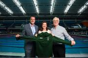 29 July 2019; In attendance are, from left, Bruce Wood, Under Armour Representative, Miriam Malone, CEO Paralympics Ireland and Trevor O'Rourke, Head of Commercial at Paralympics Ireland during the Announcement of Team Ireland for the World Para Swimming Championships in London as Under Armour is named as the official kit supplier to Paralympics Ireland at the National Aquatic Centre in Abbotstown, Dublin. Photo by David Fitzgerald/Sportsfile