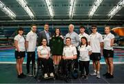 29 July 2019; In attendance are, back row from left, Amy Marren, Jonathan McGrath, Bruce Wood, Under Armour Representative, Miriam Malone, CEO Paralympics Ireland, Trevor O'Rourke, Head of Commercial at Paralympics Ireland, Barry McClements, Sean O'Riordan, Ellen Keane and front row, from left, Ailbhe Kelly, Jonathan McGrath and Nicole Turner during the Announcement of Team Ireland for the World Para Swimming Championships in London as Under Armour is named as the official kit supplier to Paralympics Ireland at the National Aquatic Centre in Abbotstown, Dublin. Photo by David Fitzgerald/Sportsfile