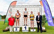 28 July 2019; Women's 400m Hurdles medallists, from left, Kelly McGrory of Tír Chonaill A.C., Co. Donegal, silver, Nessa Millet of St. Abbans A.C., Co. Laois, gold, and Karen Dunne of Bohermeen A.C., Co. Meath, bronze, with Athletics Ireland President Georgina Drumm, far left, and Mayor of Fingal Cllr. Eoghan O'Brien, far right, during day two of the Irish Life Health National Senior Track & Field Championships at Morton Stadium in Santry, Dublin. Photo by Sam Barnes/Sportsfile